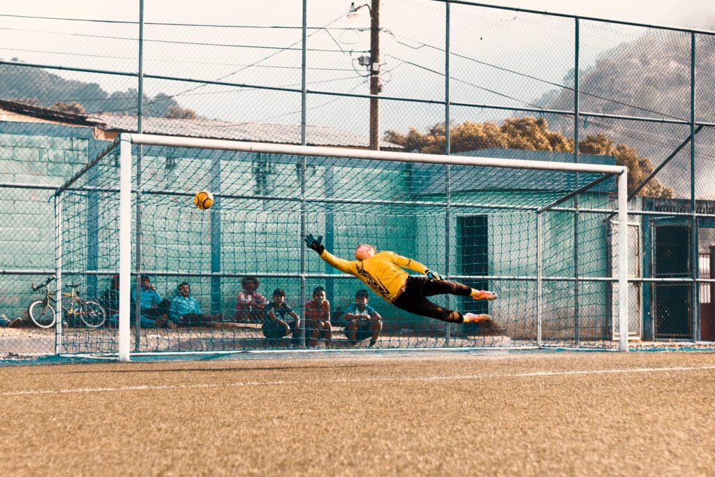 Goalie missing soccer goal